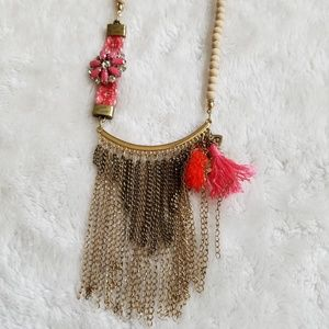 Express Wood Bead Gold Dangle Necklace, NWOT